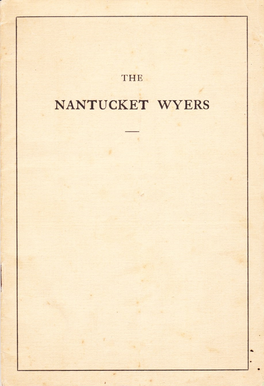 Image for The Nantucket Wyers