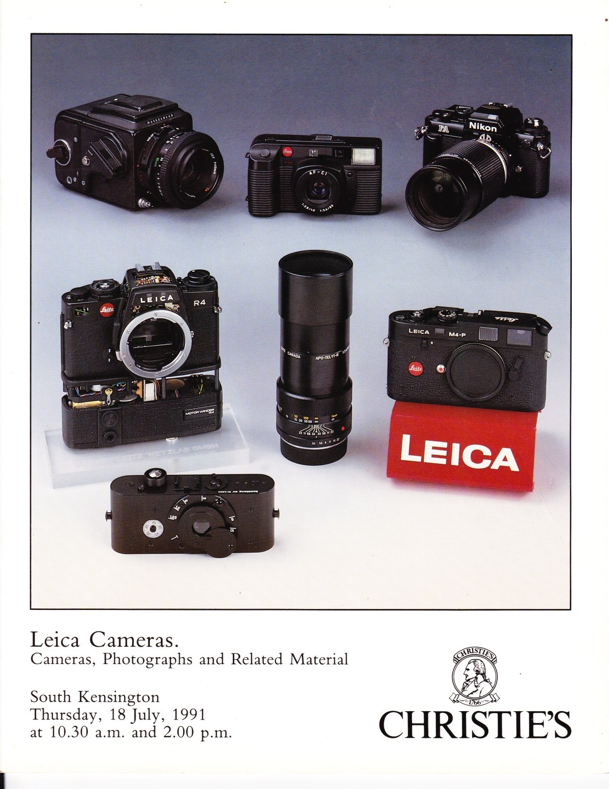 Image for Leica Cameras. Cameras, Photographs and Related Material 18 July 1991, MCA 4350