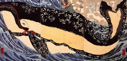 Miyamoto Musashi and whale off coast of Higo